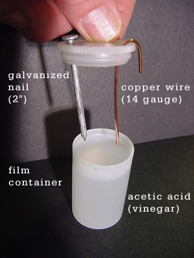 vinegar as a source of battery How to make a homemade battery with stuff you find around your house: lemon  juice, copper wire, nails and light a led with your vinegar.